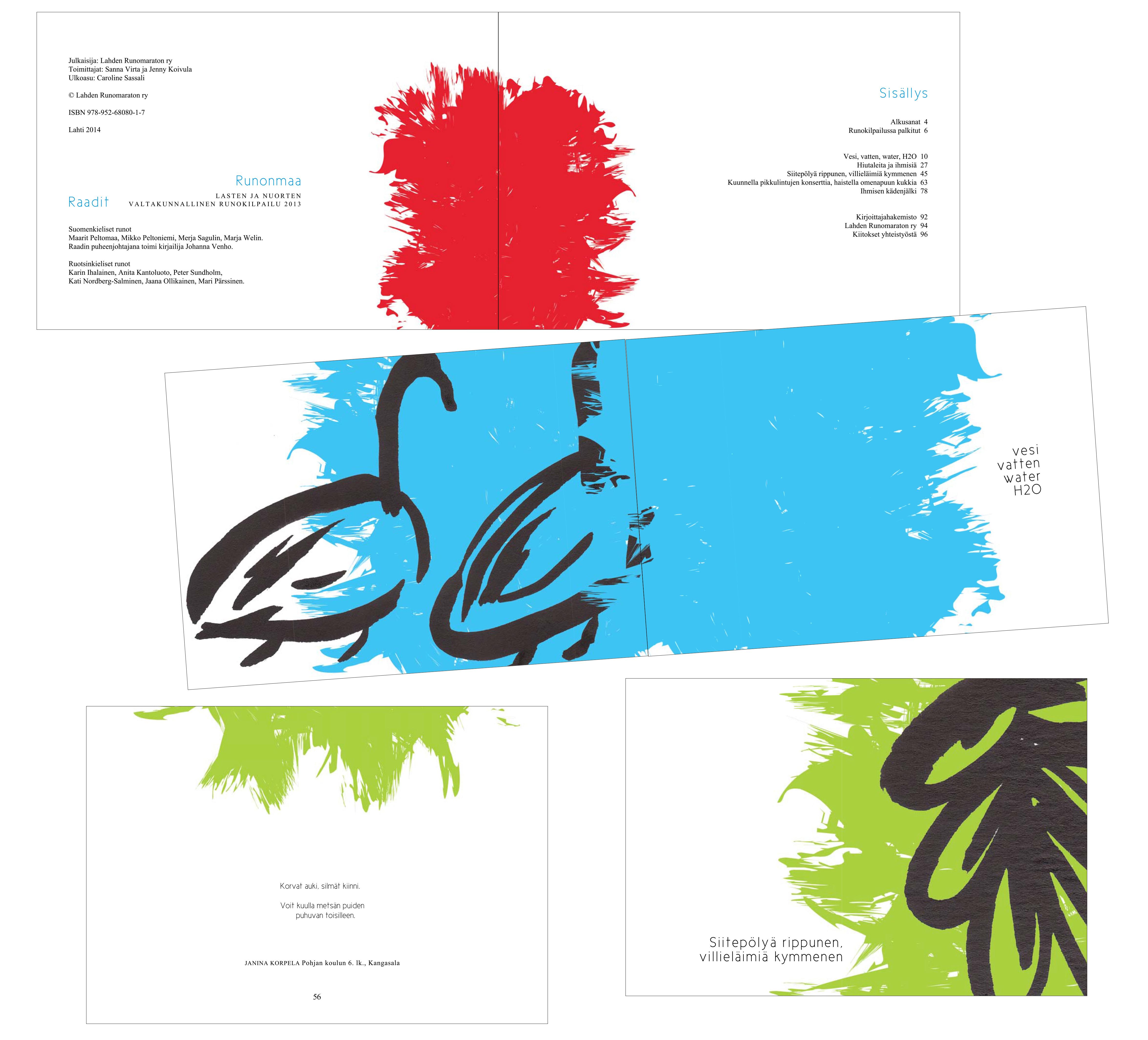 Runokirjan kuvitus ja taitto | Sininen käärme